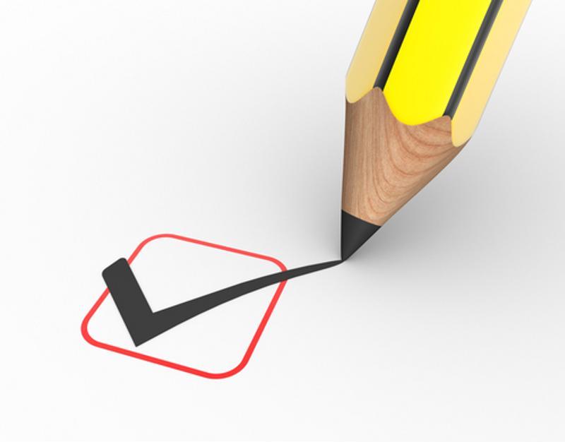 A pencil making a checkmark.