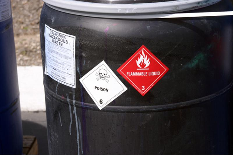 Container filled with chemicals displays GHS labels