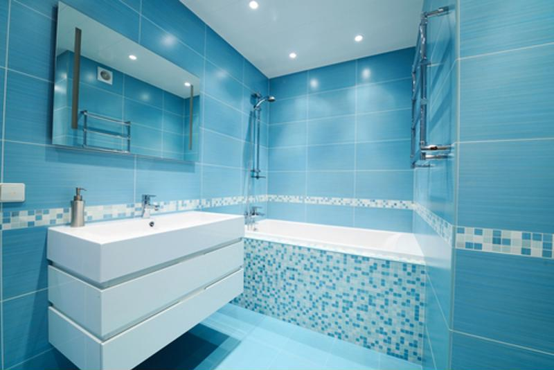 Blue tones give your bathroom a tranquil feel that's perfect for unwinding after a long day.