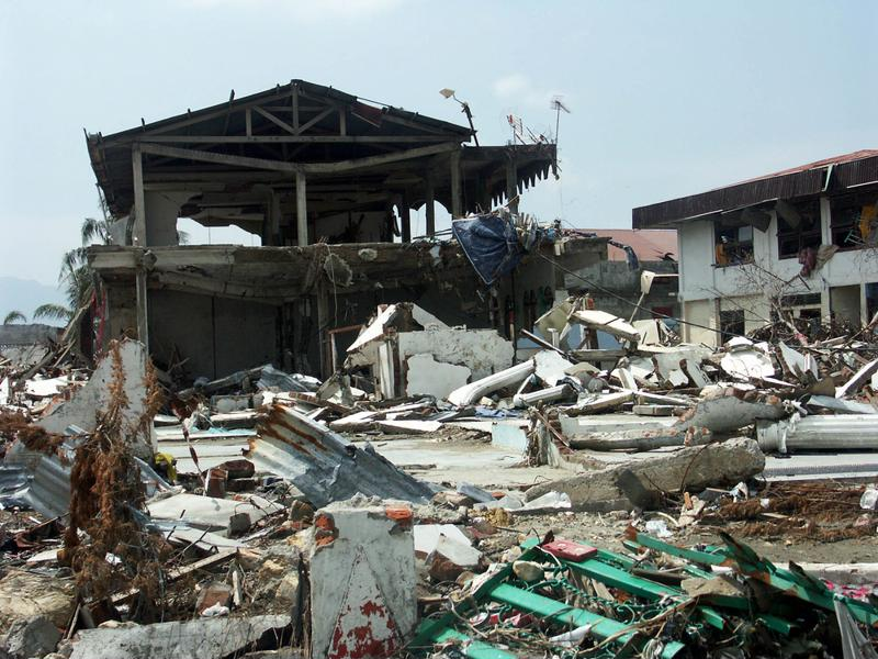 A destroyed house in Indonesia following an earthquake.