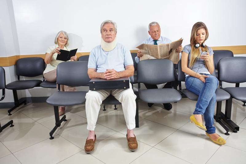 Patients waiting in an emergency room.