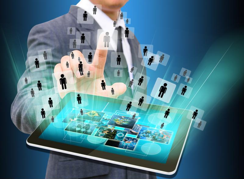 HR manager looks for employees using technology