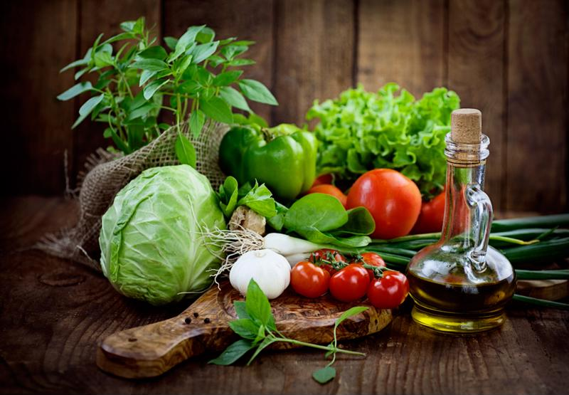 Fresh produce with a wooden background.