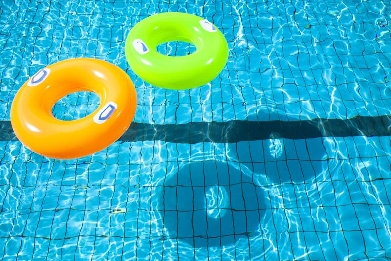 Pool with swimming rings.