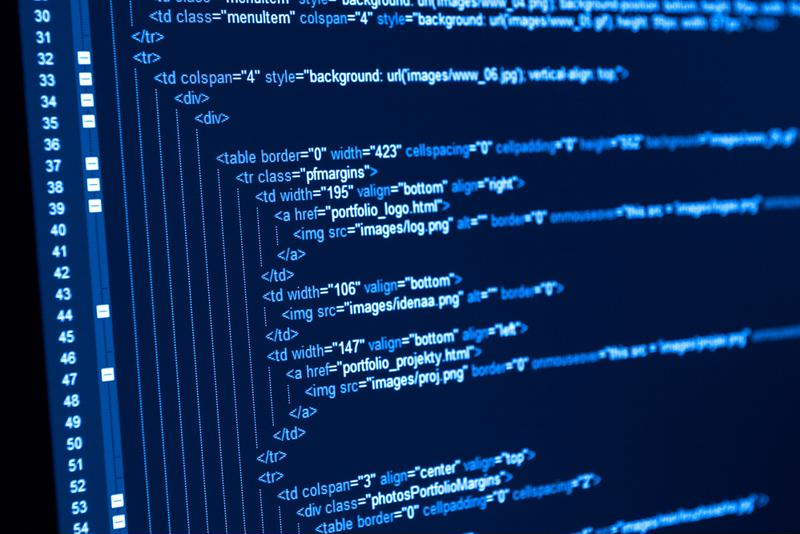 Program code on a screen.