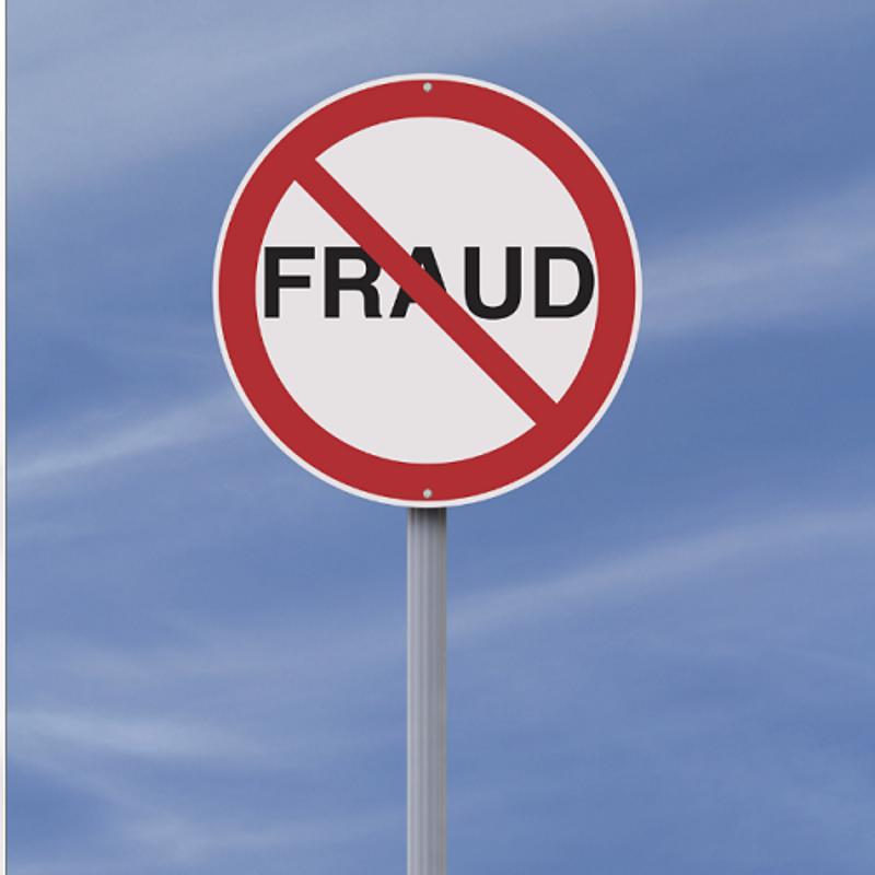 Street sign that depicts anti-fraud.