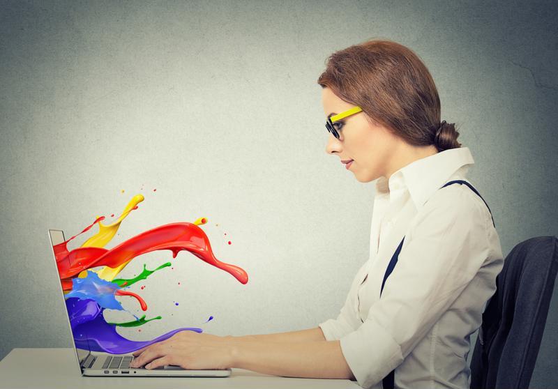 A designer using a computer.