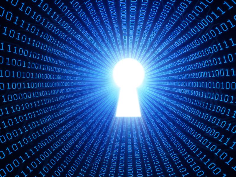 cyber security data numbers with key hole