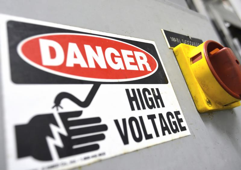 High voltage label on machinery
