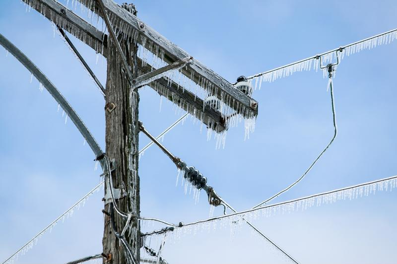 Ice-covered power lines.