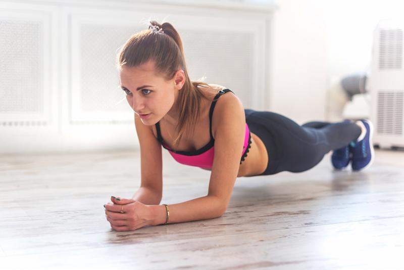 A plank workout, like this, is great for strengthening your core.