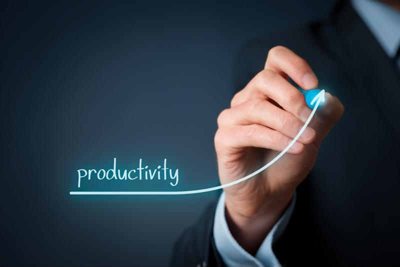 Business leader draws a productivity graph