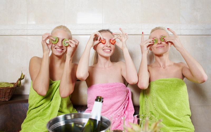 Three girls relaxing in a spa.