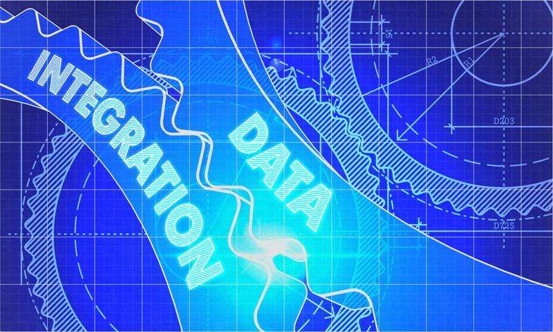 """""""Data integration"""" written on interlocking gears."""