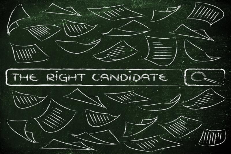 """A chalk drawing of resumes and the phrase """"the right candidate."""""""