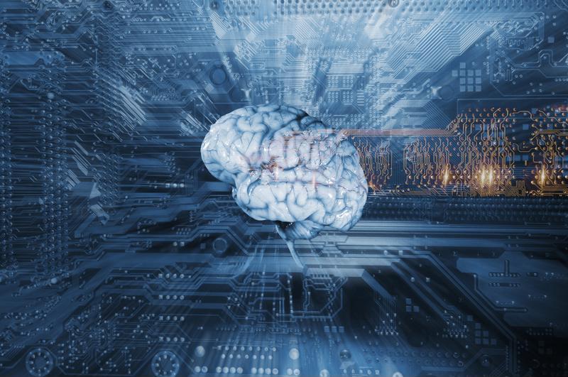 Brain with computer wires around it.