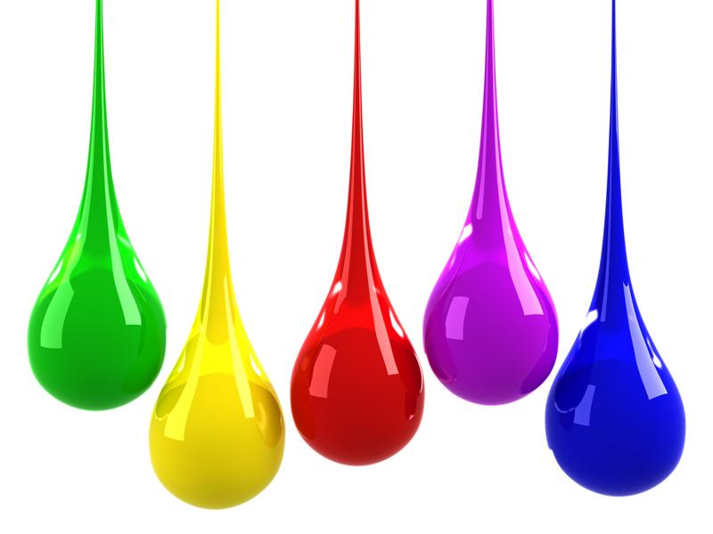 Different colored drops of ink.