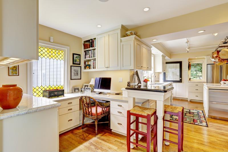 An office in your kitchen can be practical and improve the flow of your home.